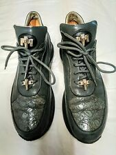 Mauri Nappa/Crocodile Italian Made Sneakers style # 8900/2 Gray Men's size 10