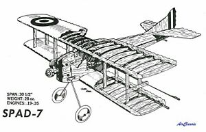 WWI Profile Warbird Plans: SPAD S.VII for .19 to .35 Engines by Kirkham (Sig)