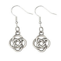925 Sterling Silver Hooks Vintage Silver Alloy Irish Celtic Round Knot Earrings