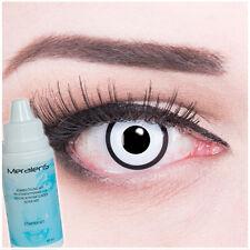 Farbige Kontaktlinsen White Zombie Schwarz Weiß Halloween Fasching Komplettset