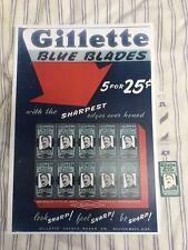 1950s Gillette Blue Blades Advertising Sign w New Originally Wrapper King Blade