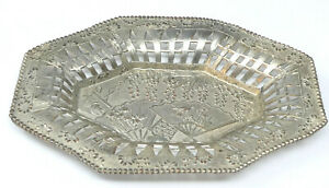 Vintage Japanese Silver Plated Trinket Dish Pierced Decoration