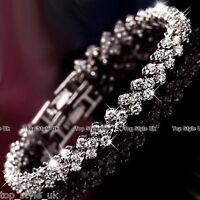 925 Silver Crystal Rhinestone Gem Bridal Wedding Tennis Bracelet Gifts for Her