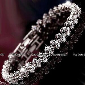 925 Silver Crystal Diamante Rhinestone Gem Bridal Wedding Tennis Bracelet Gift *
