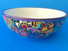 "Laurel Burch Carlotta Cats Bowl Bright Colorful Retired 5"" Purple Floral"