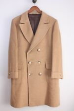 VTG Wool Double Breasted Polo Coat 42R Natural Tan Martingale Belted Overcoat
