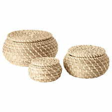 Set of 3 IKEA FRYKEN Small Round Seagrass Bathroom Storage Baskets with Lids