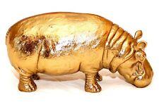 Rare Gold Tone Heavy Metal Hippopotamus Detailed 3D Figurine Decor Sculpture Nwt