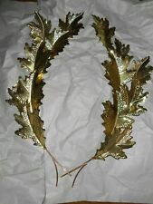 Home Interior Brass Ornate Leaf Plaques Set of Two