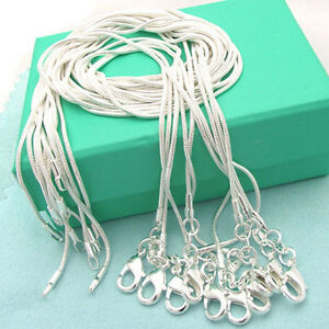 """2017 Hot 1MM 2MM STERLING SILVER SNAKE CHAIN NECKLACE 16 18 20 22 24 26 28"""" INCH"""