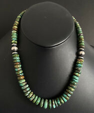 Sterling Silver Graduated Green Turquoise Bead Necklace. 18 inch
