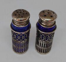 Vintage Silver-plated Filigree Hearts & Cobalt Blue Glass Salt & Pepper Shakers