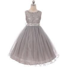 SILVER Flower Girl Dress Pageant Recital Wedding Dance Bridesmaid Gown Birthday
