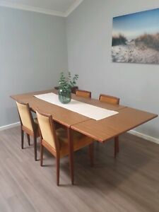 Vintage Extendible Dining Table and Chairs Retro 60s 70s Parker era timber