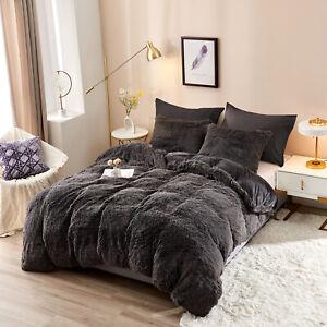 Plush Shaggy Duvet Cover Luxury Ultra Soft Crystal Velvet Bedding Set