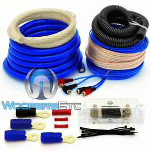 0 GAUGE BLUE 6000 WATT CAR PRO COMPLETE AMP WIRE AMPLIFIER INSTALL WIRING KIT GA