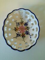 Vintage Reticulated Handpainted Bowl Dish Made in Portugal