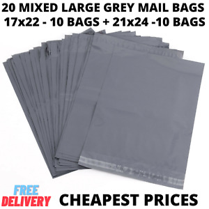 20 MIXED EXTRA LARGE MAILING BAGS GREY PARCEL PACKAGING 17 x 22 & 21 x 24 BAGS