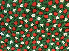 Vintage Calico Cotton Quilting Fabric 93 x 36 Green Red Apple White Blossoms