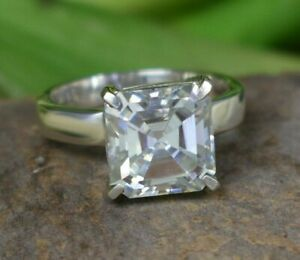 5.80 Ct Off White Diamond Solitaire Ring In Asscher Cut Great Shine WATCH VIDEO