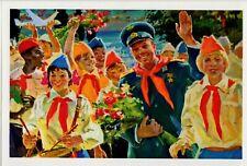 GAGARIN and SOVIET PIONEERS Space Propaganda Russian NEW RARE Postcard
