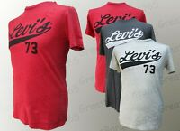 Men's Genuine LEVI'S 73 T-Shirt Cotton Short Sleeve Graphic Red Grey S M L XL