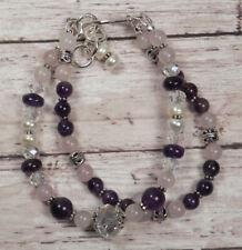 Amethyst Rose Quartz Pearl Crystal Beaded Bracelet Handmade Two Strand New