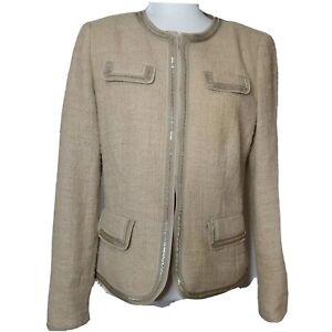 BASLER Black Label Boucle Tweed Women's Blazer Gold Tone Chain Size 38 S/M
