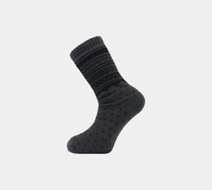 MENS 4.7 TOG THERMAL FLEECE SHERPA LINING SLIPPER GRIPPER SOCKS Charcoal