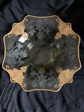 "12.5"" Cambridge Apple Blossom Gold Etched Mandarin Elegant Glass Large Bowl"
