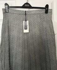 M&S Marks & Spencer Women Classic Twiggy Navy Blue Check Pleated Skirt BNWT S14