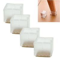 4Pcs Square Chair Leg Caps Rubber Feet Protector Covers Pads For Furniture Table