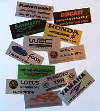 COURSE MOTORSPORT alu-plakette étiquette Edition Limitée pour moto ou voiture