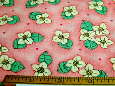 "Vintage Cotton Fat Quarter FLOWERS & DOTS Peach Yellow Green Black 22""x18""   D"