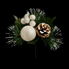 Christmas Decoration - Glitter Ball, Berry Pine Cone Spray Stem - Choose Colour