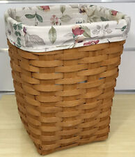 Longaberger Small Waste Basket 1993, Botanical Fields Liner, Protector