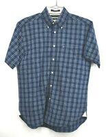 Tommy Hilfiger Mens Button Down Shirt Short Sleeve Indigo Graph Cotton Medium