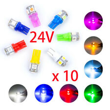 10x DC 24V T10 LED 5SMD W5W Wedge Car SUV Interior Light Bulb 168 192 2825 194