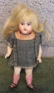 "Antique German Bisque 5"" Mignonette Doll~Long Blond Wig~Excellent Condition~WOW"