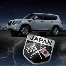 Fashion Metal Japan Flag Badge Sticker Black Samurai Style Warrior Shield Design