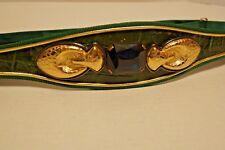 Vintage Carolyn Tanner Designs Belt Faux Croc Emerald Cut Jewel Green Chord Gold