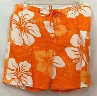 Brents Surfwear Mens XL Board Shorts Swim Suit Trunks Orange White Floral