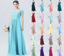 Long Formal V Neck Lace Chiffon Evening Party Prom Bridesmaid Dresses Size 6-24