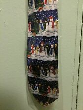 Ollezione Roberto Snowman Tie Christmas Holiday Winter