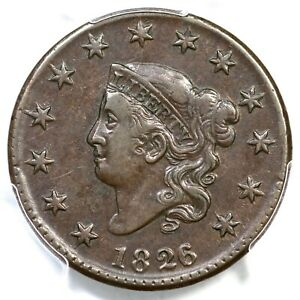 1826/5 N-8 R-2 PCGS XF 40 CAC Dbl Prof Matron or Coronet Head Large Cent Coin 1c