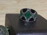Vintage Art Deco style Black/Green Enamel marcasite Sterling Silver ring