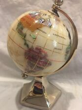 """Alexander Kalifano Gemstone Globe with White Opal Ocean and Chrome 6""""Tall Stand"""