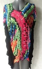 Bright Multi-coloured Top, Crinkle Fabric, Cap Sleeves, Plus Size 20 NWOT