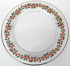 ARCOROC / LIBBEY ARBYS HOLLY CLEAR GLASS SALAD PLATE(S) GOLD TRIM CHRISTMAS