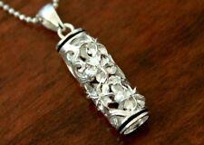 Hawaiian Sterling Silver PLUMERIA BLACK BORDER BARREL Pendant Necklace # SP36706